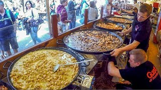Orgy of France Street Food. Bourguignon, Cassoulet, Tartiflette, Raclette, Rougail, Paella