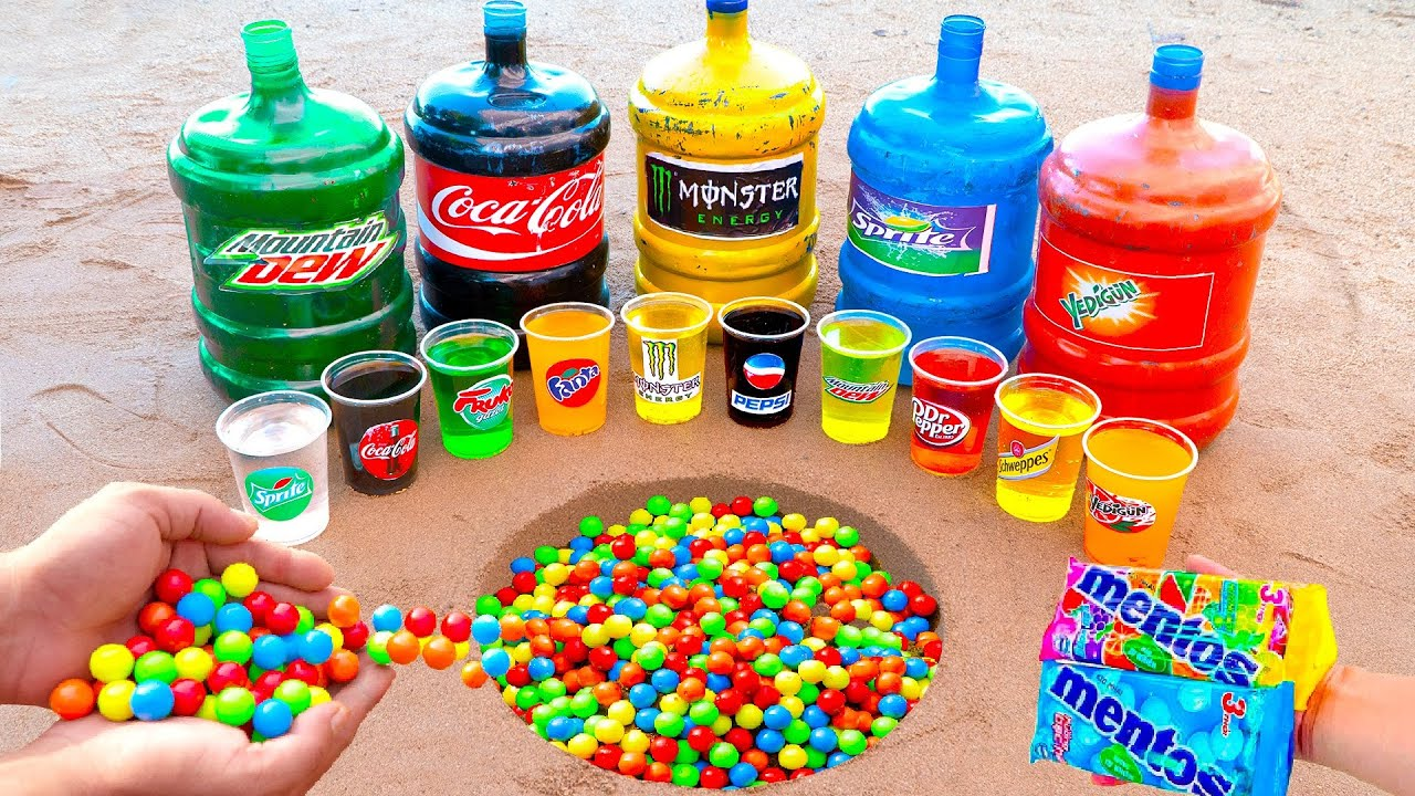 Marble of Different Color Experiment with Coca Cola, Fanta, Pepsi, Sprite and Mentos Underground