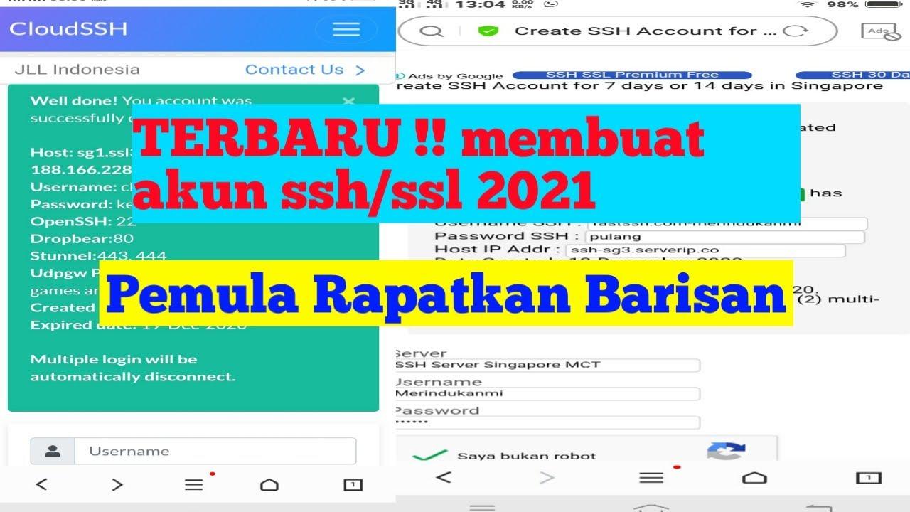Trik Daftar Akun Ssh Ssl Akun Ssh Tunnel Terbaru 2021 Gratis Youtube