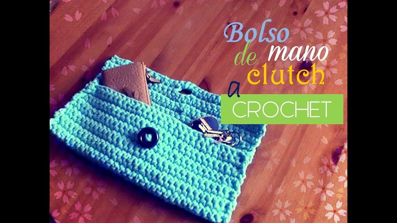 Bolso de mano o clutch de trapillo a crochet diestro for Bolsos de crochet de trapillo