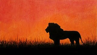 How To Draw Sunset Scenery / Landscape with Oil Pastel step by step