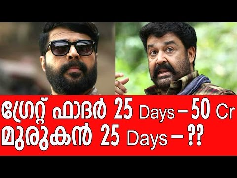 The Great Father Vs Pulimurugan - 25 Days Collection Report