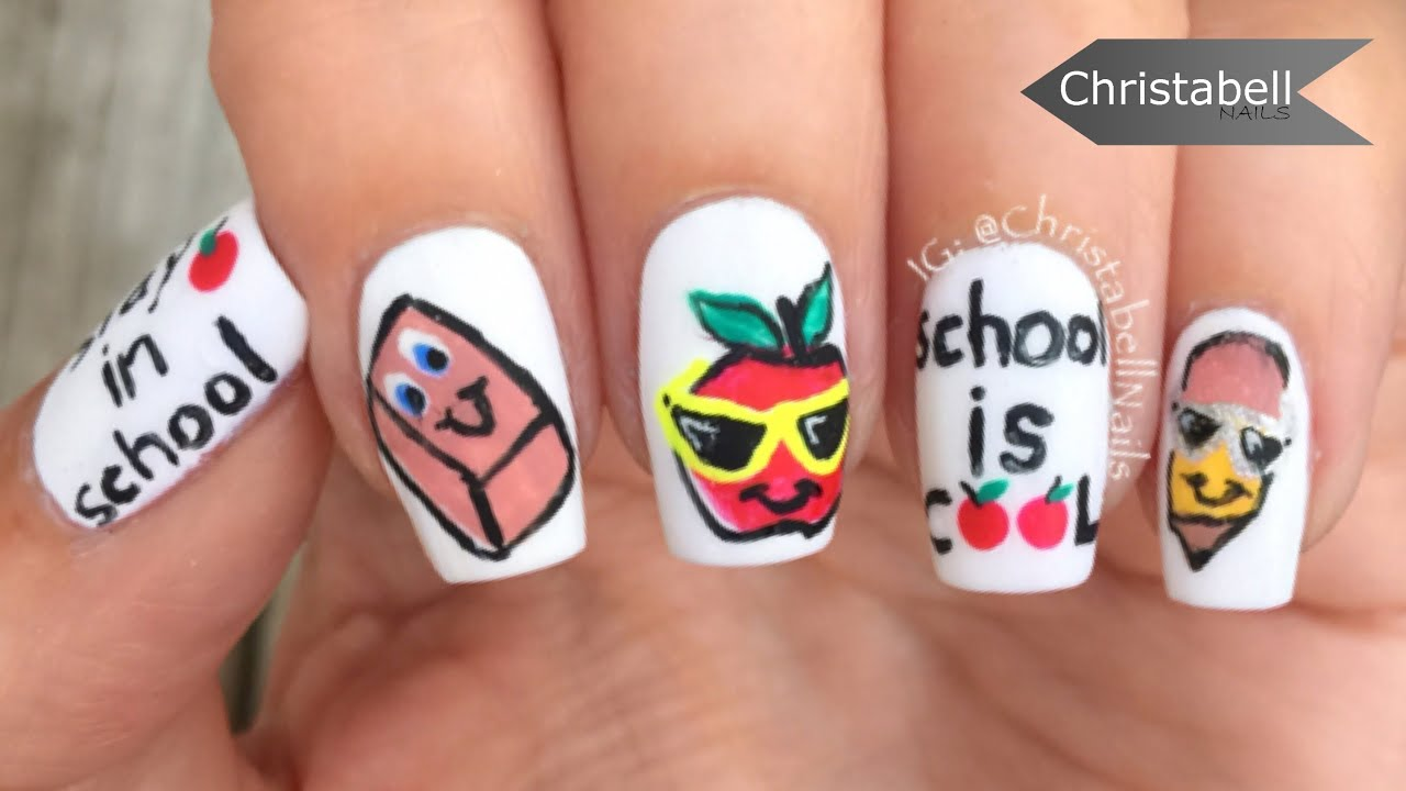 Fun Back to School Nail Art - School is Cool - YouTube