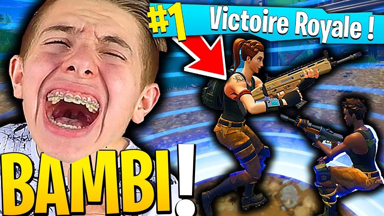 LE PLUS GROS FIGHT DE BAMBI POUR LEUR PREMIER TOP 1 SUR FORTNITE BATTLE ROYALE !!!
