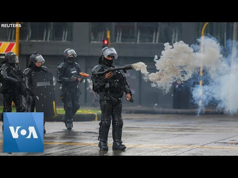 Protesters and Police Clash in Colombia's Capital Bogota
