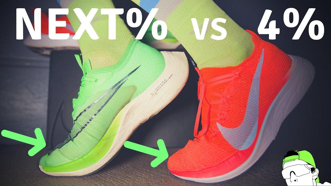 asqueroso vistazo Admirable  Marathon Racing Test: Nike Next% vs Nike Vaporfly 4% Flyknit - YouTube