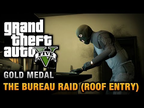 GTA 5 - Mission #68 - The Bureau Raid (Roof Entry) [100% Gol