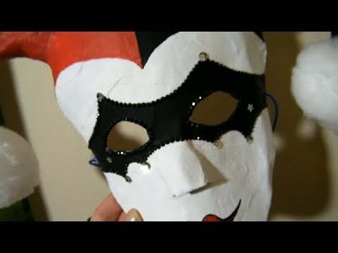 The BEST Paper Mache Mask- Part 1: Construction Masquerade, Harley Quin Inspired Mardi Gras Style