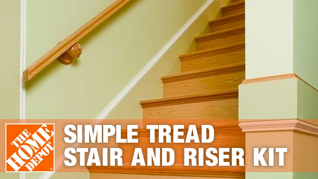 Alexandria Moulding Simple Tread Stair And Riser Kit The Home   Red Oak Stair Treads Home Depot   Stair Parts   Engineered Wood   Oak Engineered   Risers   Landing Tread