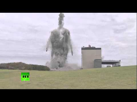 WATCH: Iconic 149-metre tall power station chimneys blown up in Scotland