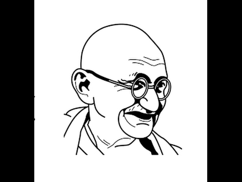 How to draw mahatma gandhi face sketch step by step