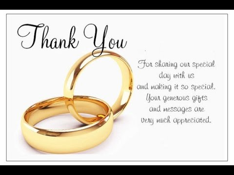 Wedding Thank You Cards YouTube – Thank You Card Messages Wedding