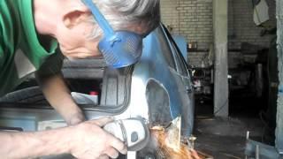 Ваз 2114  Угол заднего крыла, дверь.  Кузовной ремонт.