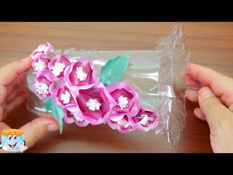 How to Make a Flower Vase with Plastic Bottle and Ribbon - Art and Craft Ideas