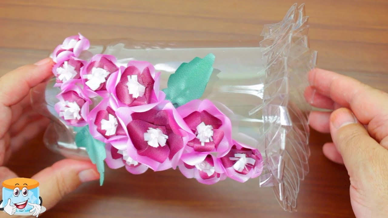How To Make A Flower Vase With Plastic Bottle And Ribbon