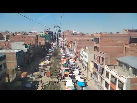 Sobrevolando el mercado de El Alto en La Paz