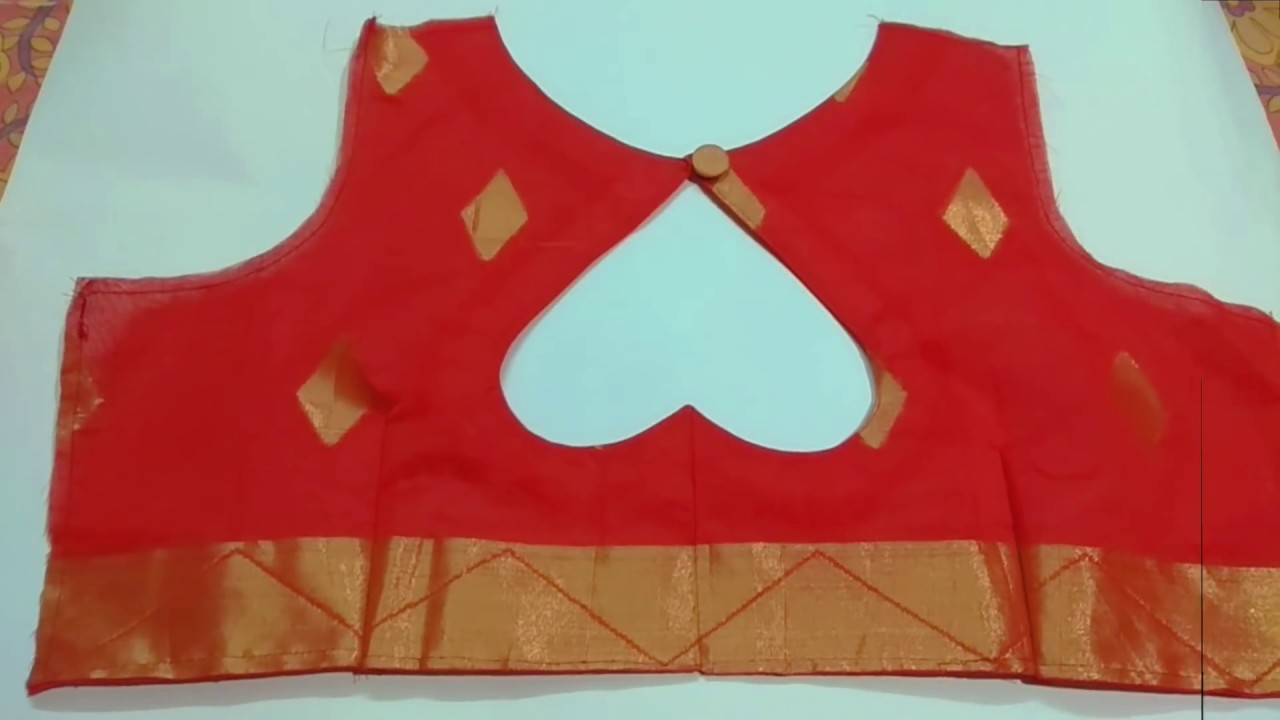 c8841d11e8a62 37 size double Katori blouse cutting and stitching new back neck design