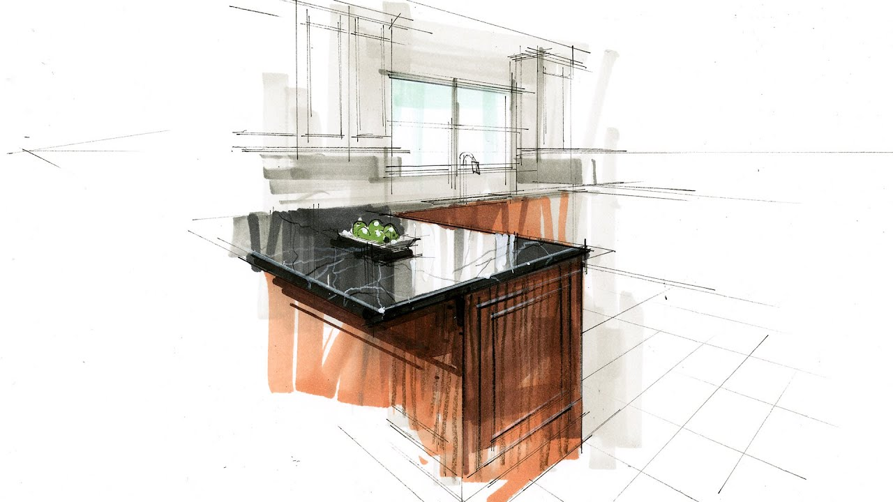Tutorial Hand Rendering Interior 160416 Kitchen Detail Youtube