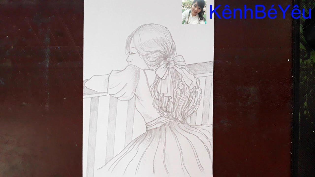 Vẽ cô gái xinh đẹp – Vẽ bằng bút chì;Drawing beautiful girl – Drawing with pencil.