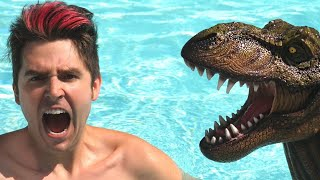 SWIMMING WITH REAL DINOSAUR SURPRISE!