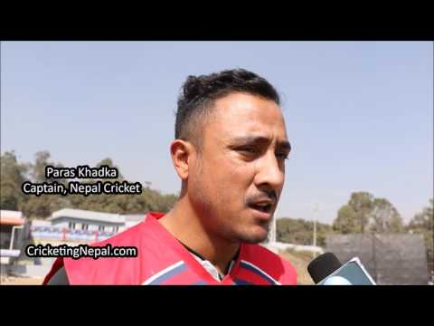Paras Khadka speaks on the first day of Dav Whatmore's High Performance Camp