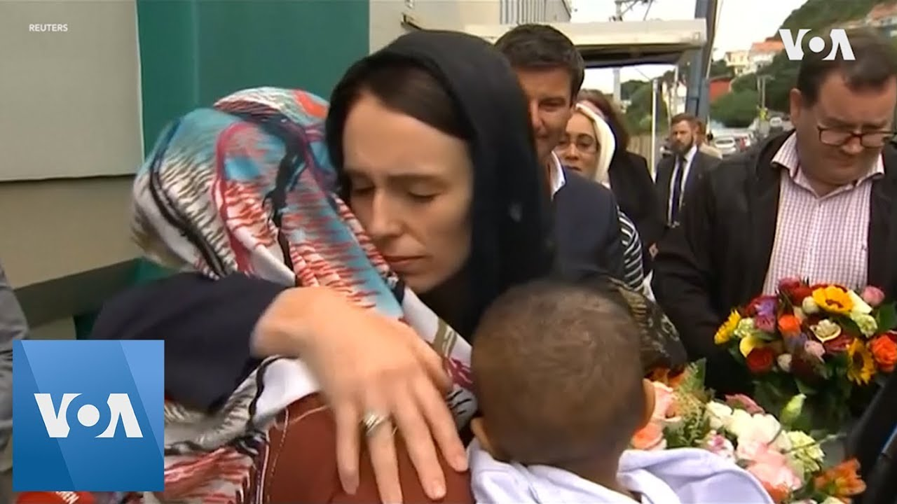 New Zealand PM Ardern lays wreath at mosque to remember shooting victims