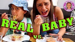 REAL FOOD VS BABY FOOD CHALLENGE - ADULT FOOD vs BABY FOOD | Mileys Welt