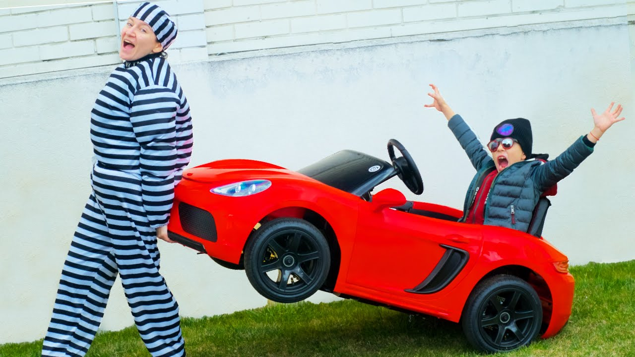 Artem Pretend Play with Cars  : Funny kids story about how Theif stole my Porsche toy car