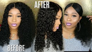 Natural Curly Hair Tutorial | 180% Density Glueless 360 Lace Wig | Lwigs