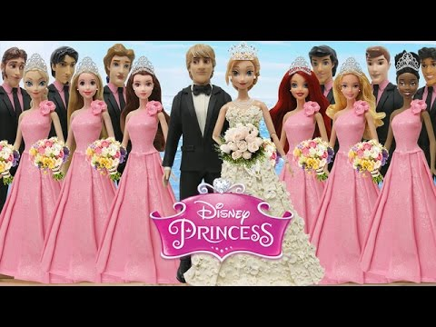 Play Doh Wedding Dress Anna & Kristoff  Disney Prince & Princesses Elsa Tiana Belle Ariel