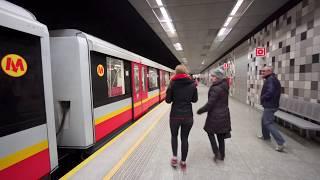 Poland, Warsaw, metro ride from Słodowiec to Politechnika, 2X escalator,1X elevator