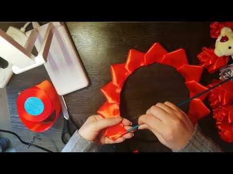 Букет роз в форме сердца из атласных лент ( Gül Buketi). Bouquet Of Roses