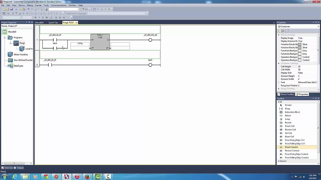 allen bradley micro810 quick tutorial on delay timer ton blocks rh youtube com rockwell connected components workbench manual allen bradley connected components workbench manual