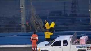 Mikhail Aleshin horrible accident live Indycar Final Practice Fontana 2014