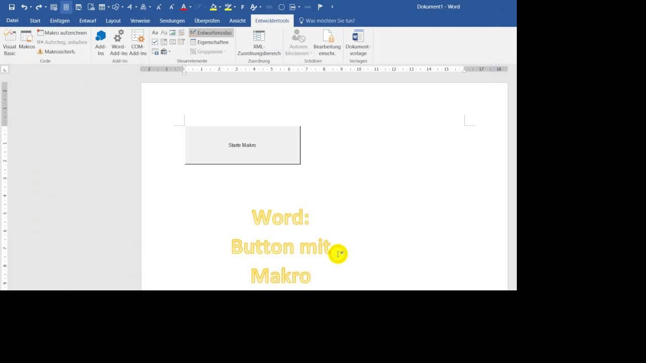Word Button Mit Makro Erstellen Youtube