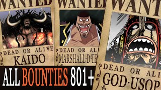 All Bounties updated to chapter 801+ in ONE PIECE