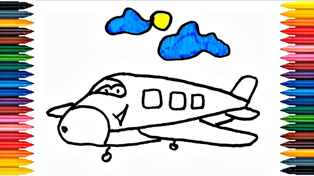 Drawing Airplane How to Draw Airplane Coloring Book Fun Painting ...