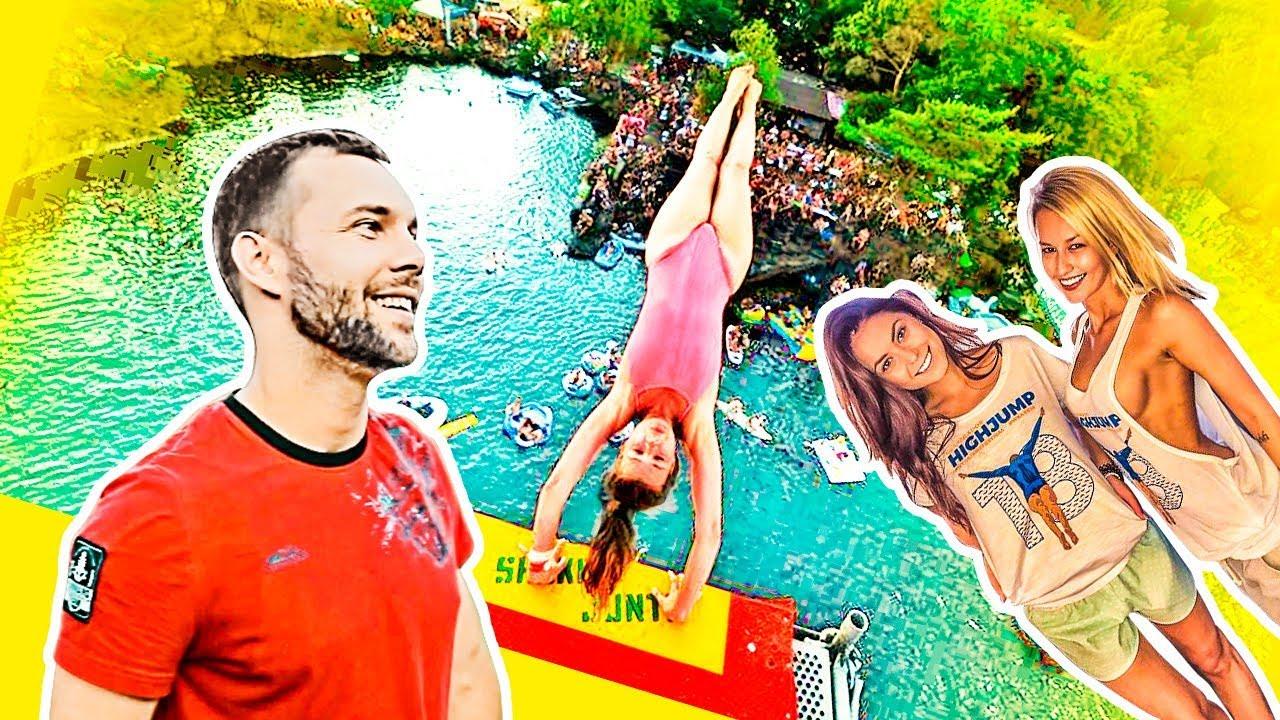 Обзор аквапарка для взрослых в Чехии | Прыжки в воду с крана, тарзанки, катапульты, трамплина