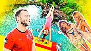 Обзор аквапарка для взрослых в Чехии   Прыжки в воду с крана, тарзанки, катапульты, трамплина