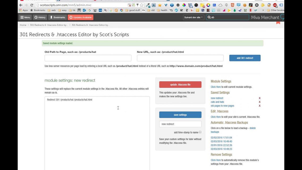 Miva Modules - Scot's 301 Redirect &  htaccess Editor