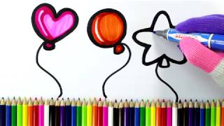 How to Draw a Balloon Coloring Pages for Kids   Drawing and Coloring Balloon   Art4Kids