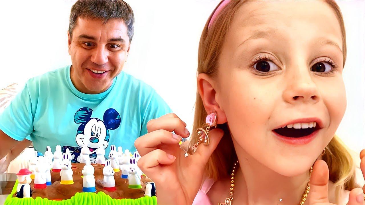 Nastya e papai brincam com a máquina de doces e setransformam em princesas