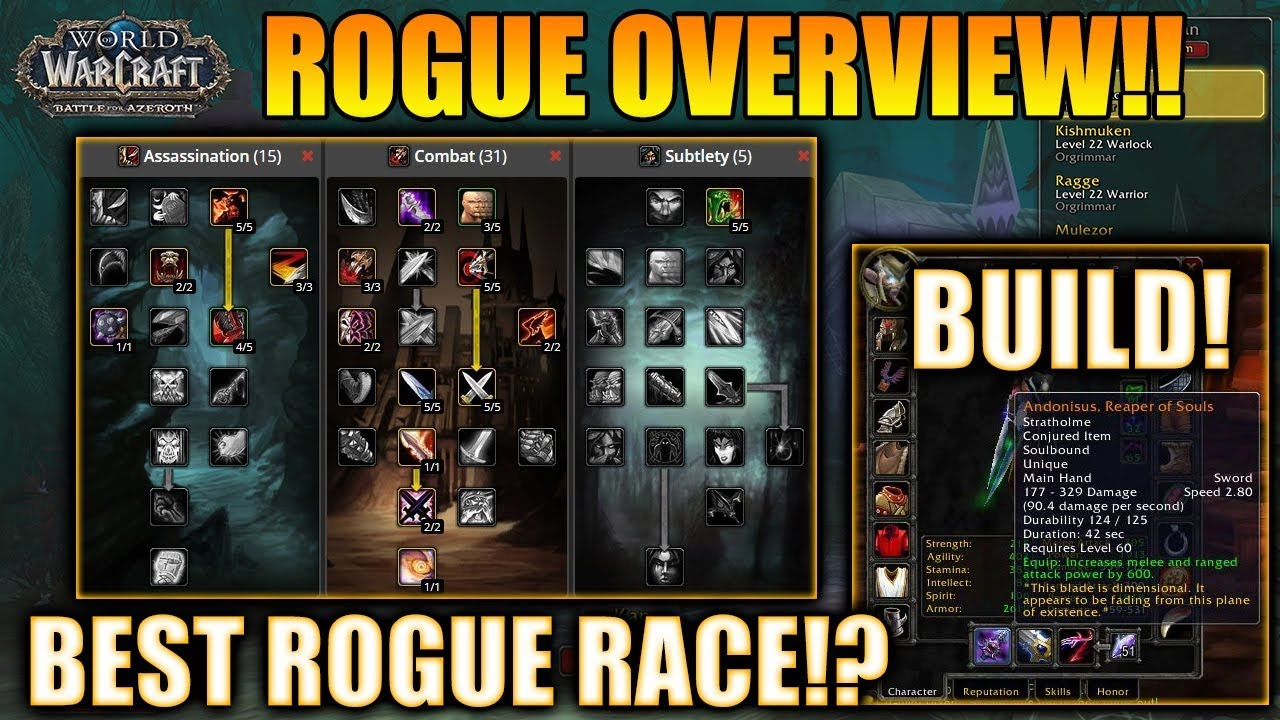 Classic Wow Rogue Overview Best Rogue Race Spec Build Wow Classic Rogue Guide In Vanilla Youtube