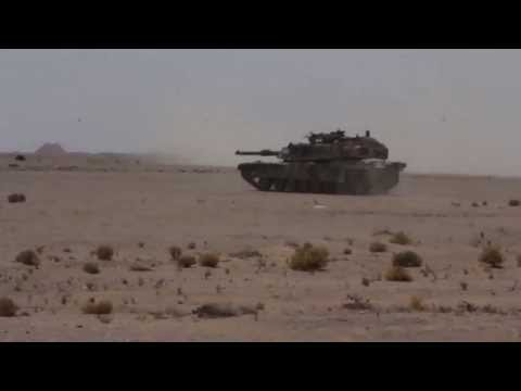 Marine Tanks Engage Targets in the Desert in Qatar - M1A1 Abrams Battle Tanks