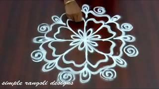 creative freehand rangoli without dots -   muggulu  designs -  Simple  friday kolam designs