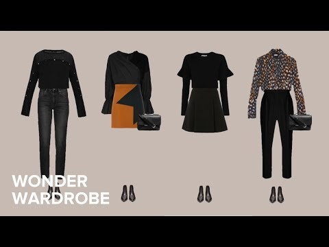 Black capsule wardrobe example with a splash of colour.