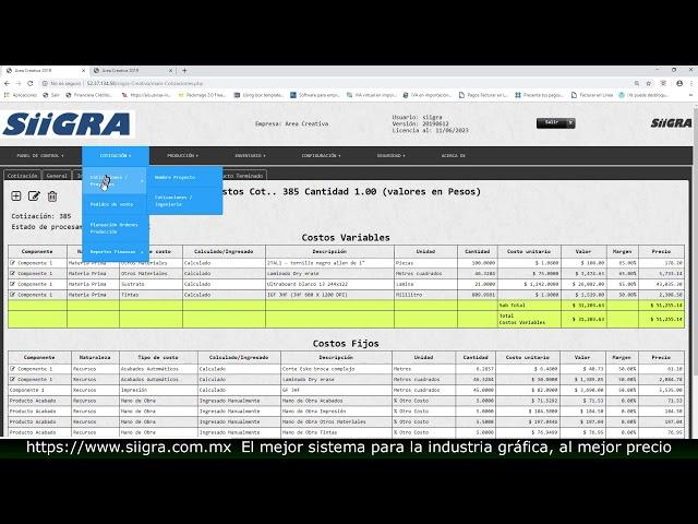 Demo impresión Gran Formato y agencias de Publicidad, sistema SiiGRA