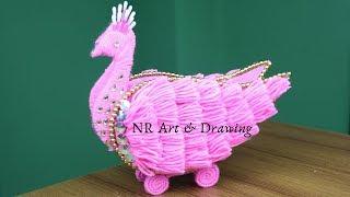 Amazing!!! Peacock Design Woolen Showpiece Making Ideas - Woolen art and craft - Easy Crafts Ideas