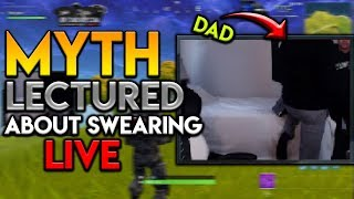 MYTH GETS LECTURED BY DAD ABOUT SWEARING LIVE!? TIMTHETATMAN 246m KILL - Fortnite Moments #1
