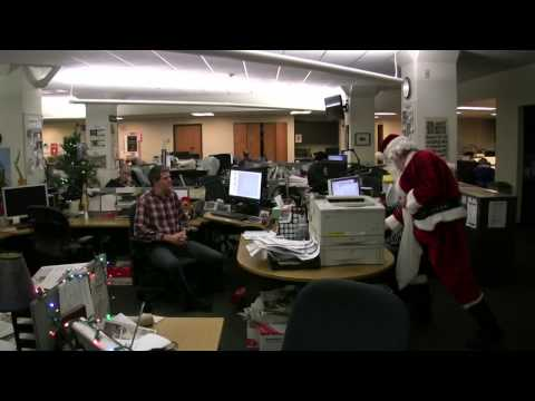 Santa visits Journal Sentinel newsroom